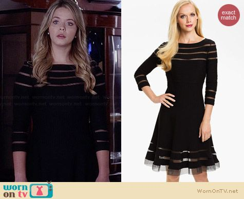 Tadashi Shoji Mesh Stripe Fit & Flare Dress worn by Sasha Pieterse on PLL