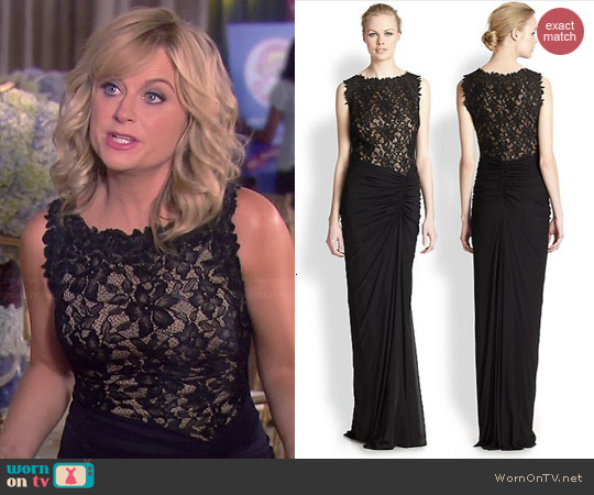 Tadashi Shoji Ruched Lace Bodice Gown worn by Amy Poehler on Parks & Rec
