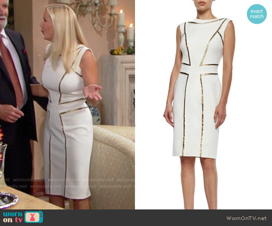 Tadashi Shoji Sleeveless Sequin-Seamed Cocktail Sheath Dress worn by Katherine Kelly Lang on The Bold & the Beautiful