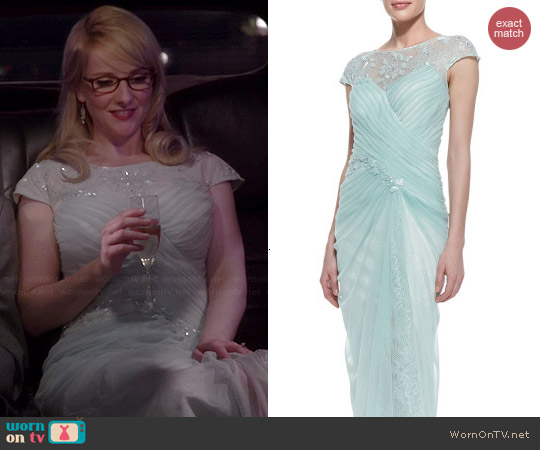 Tadashi Shoji Cap Sleeve Lace Yoke Draped Gown in Mint worn by Melissa Rauch on The Big Bang Theory