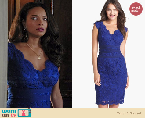Tadashi Shoji Embroidered Lace Sheath Dress Worn By Rochelle Aytes On Mistresses
