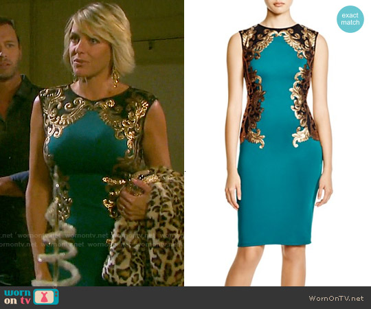 Tadashi Shoji Sleeveless Sequin Color Block Dress worn by Arianne Zucker on Days of our Lives