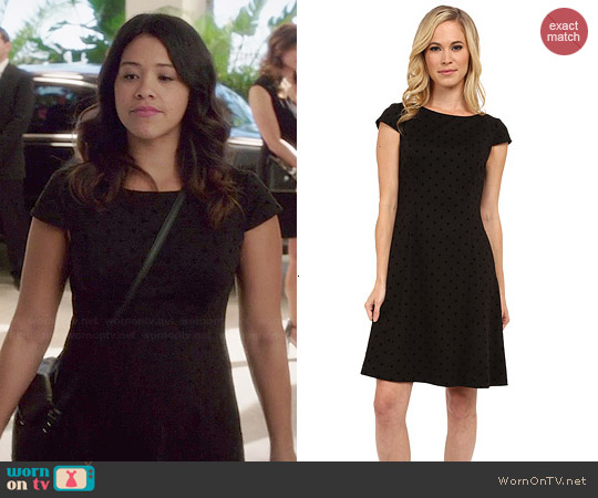Tahari Polka Dot Patty Dress worn by Gina Rodriguez on Jane the Virgin