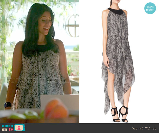 Tamara Mellon Chiffon Draped Dress with Leather Detail worn by Reshma Shetty on Royal Pains