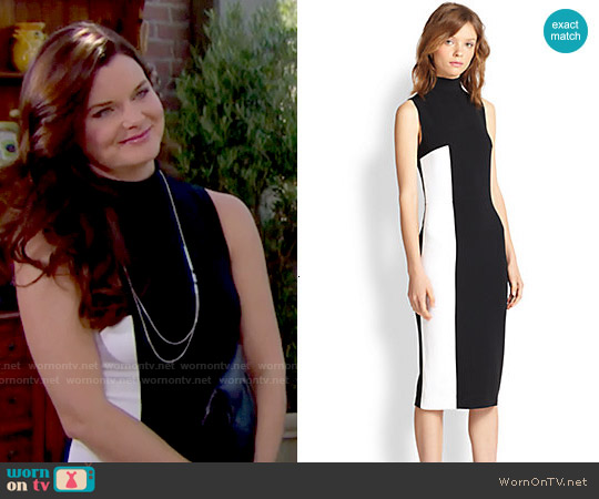 Tanya Taylor Lola Two Tone Turtleneck Dress worn by Heather Tom on The Bold & the Beautiful