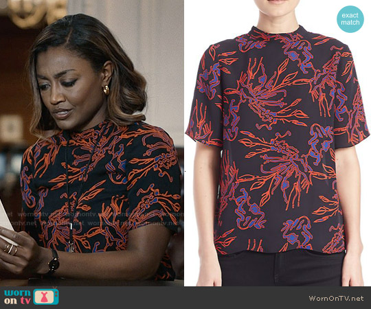 Tanya Taylor Natasha Printed Silk Blouse worn by Patina Miller on Madam Secretary