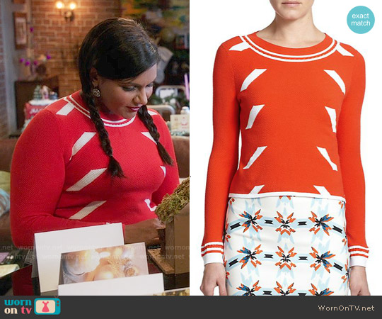 Tanya Taylor Rita Dash Sweater worn by Mindy Kaling on The Mindy Project