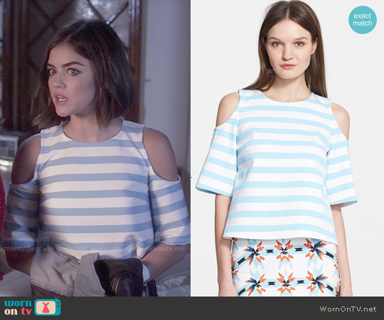 Tanya Taylor Iris Stripe Cold Shoulder Top worn by Aria Montgomery on PLL