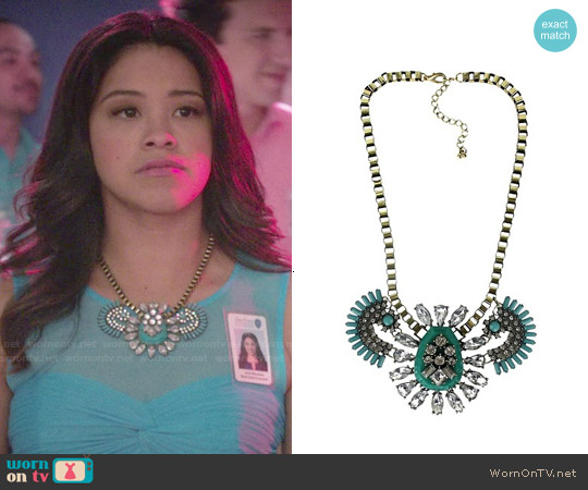 Target Fashion Necklace with Stones in Gold/Blue worn by Jane Villanueva on Jane the Virgin