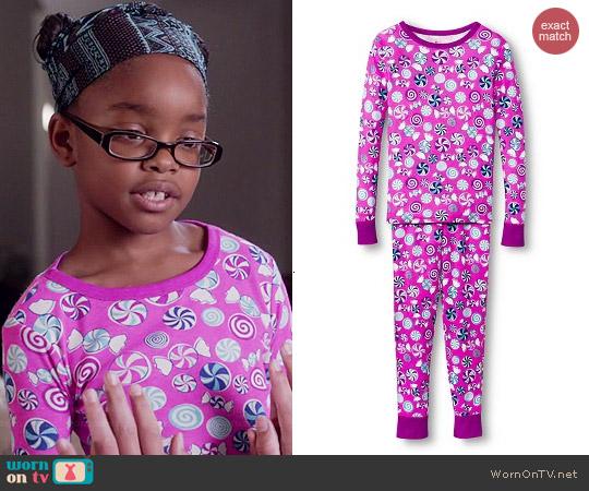 Target Candy 2 Piece Long Sleeve Pajama Set worn by Marsai Martin on Black-ish