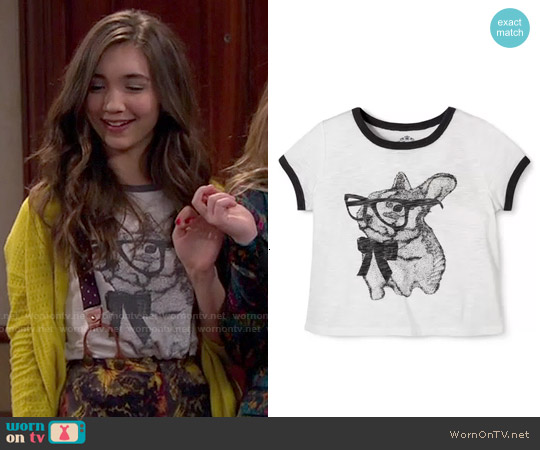 Target Girls' Cute Bunny Sketch Tee worn by Rowan Blanchard on Girl Meets World