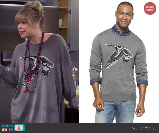 Merona Mens Duck Print Sweater worn by Amanda Fuller on Last Man Standing