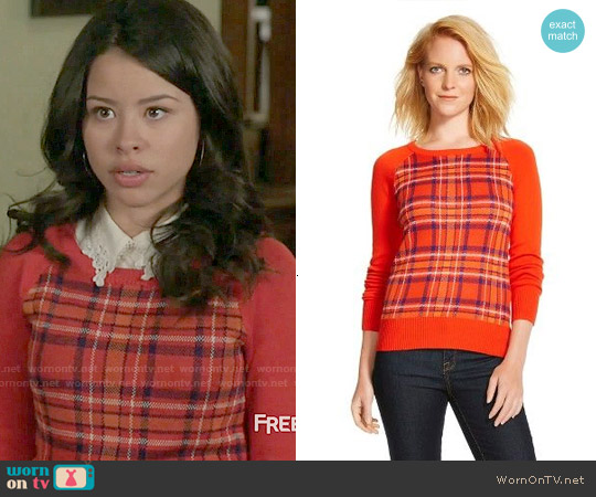Target Merona Plaid Pullover Sweater worn by Cierra Ramirez on The Fosters