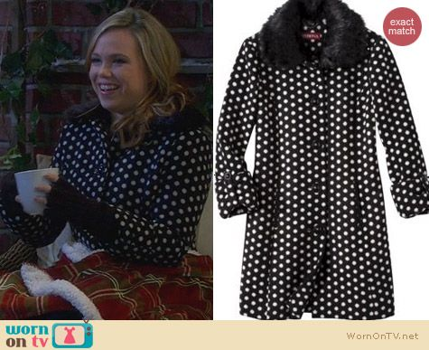 Target Merona Polka Dot Luxe Coat worn by Amanda Fuller on Last Man Standing