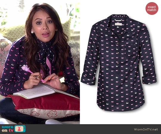 Merona Popover Favorite Shirt in Whale Print worn by Janel Parrish on PLL