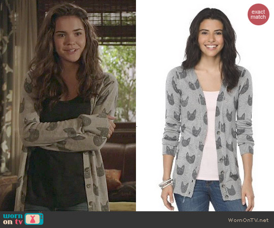 Mossimo Cat Printed Boyfriend Cardigan worn by Maia Mitchell on The Fosters