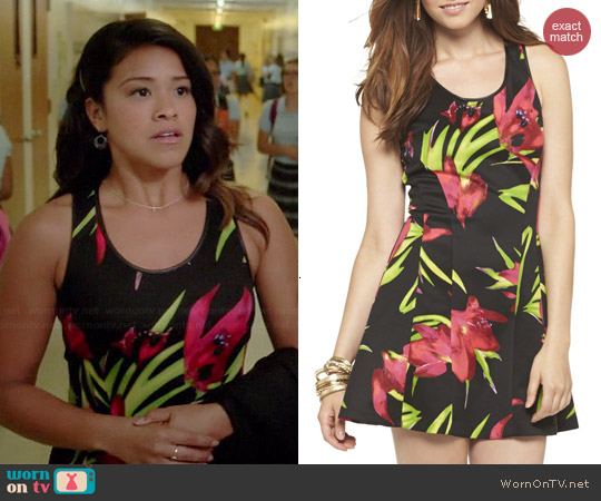Target Multifloral Print A-Line Dress worn by Gina Rodriguez on Jane the Virgin