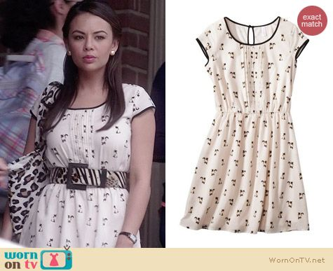 Xhilaration Cat Print Dress worn by Janel Parrish on PLL