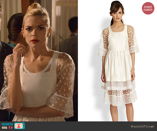 TBA (To Be Adored) Silk Pinafore Sheer Polka Dot Underlay Dress worn by Jaime King on Hart of Dixie