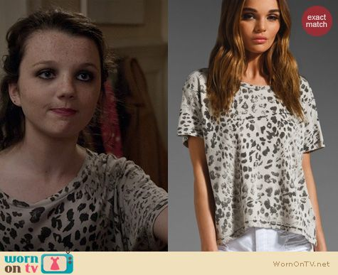 TCD Fashion: Current/Elliot The Freshman Tee in Grey Leopard worn by Stefania Owen