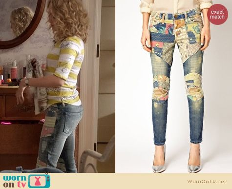 The Carrie Diaries Fashion: Current/Elliot Patchwork Jeans worn by AnnaSophia Robb