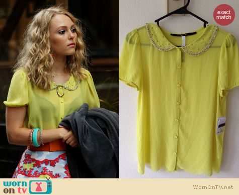 TCD Fashion: Kensie Yellow Peter Pan Blouse worn by AnnaSophia Robb