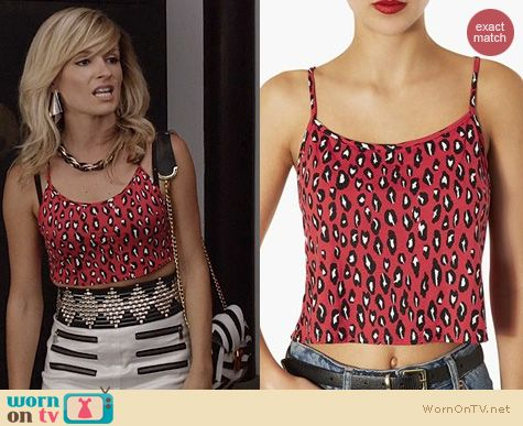 TCD Fashion: Topshop pink leopard crop top worn by Lindsey Gort