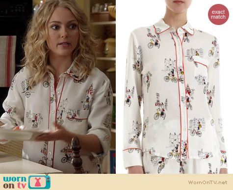 The Carrie Diaries Pajamas: Piamita City Tour Isabella Pajama Shirt worn by Carrie Bradshaw