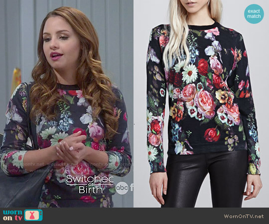 Ted Baker Edryss Oil Painting Printed Sweater worn by Aimee Carrero on Young & Hungry