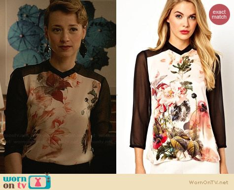 Ted Baker Floral Ivor Opulent Bloom Printed Shirt worn by Karine Vanasse on Revenge