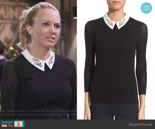 Ted Baker 'Helane' Embellished Sweater worn by Melissa Ordway on The Young & the Restless