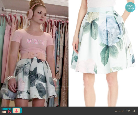 Ted Baker 'Maarii' Distinguishing Rose Print Skirt worn by Billie Lourd on Scream Queens