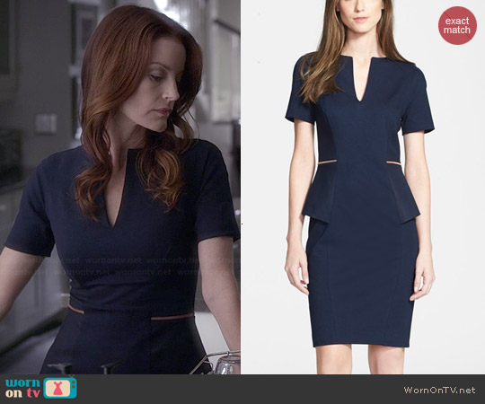Ted Baker Maddiye Peplum Dress worn by Laura Leighton on PLL
