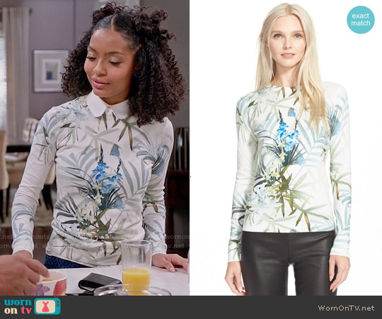 Ted Baker Nayda Sweater worn by Yara Shahidi on Blackish