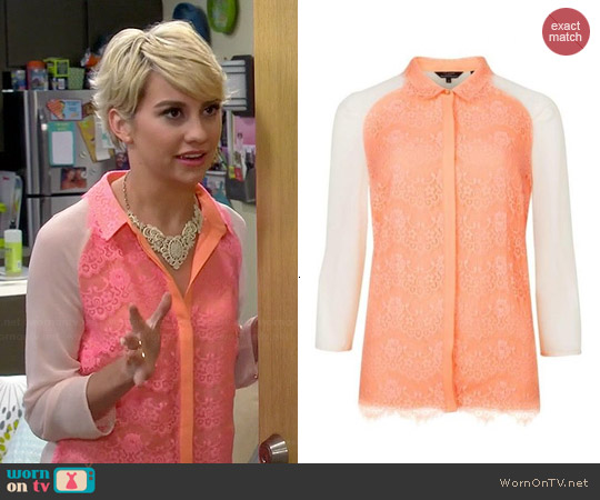Ted Baker Abra Lace Shirt worn by Chelsea Kane on Baby Daddy
