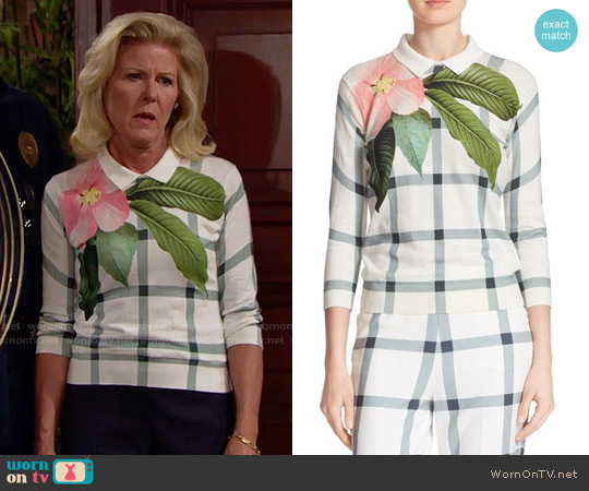 Ted Baker 'Agneya' Print Sweater worn by Alley Mills on The Bold & the Beautiful
