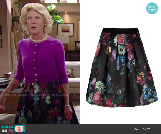 Ted Baker Full Skirt in All Over Floral Print worn by Alley Mills on The Bold & the Beautiful