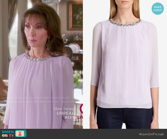 Ted Baker Altrr Blouse in Light Purple worn by Susan Lucci on Devious Maids