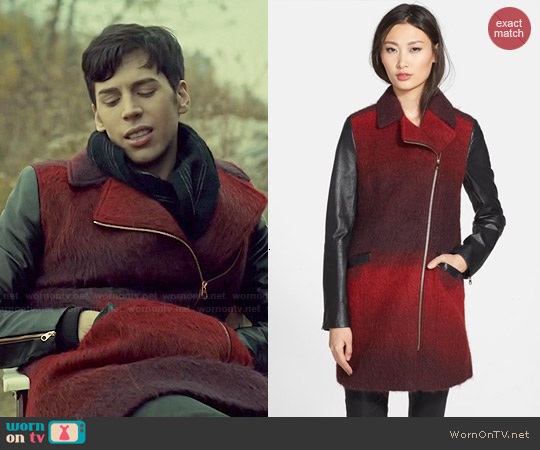 Ted Baker 'Annamae' Ombré Moto Jacket with Leather Sleeves worn by Jordan Gavaris on Orphan Black