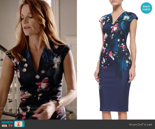 Ted Baker 'Antonya' Floral Sheath Dress worn by Laura Leighton on PLL