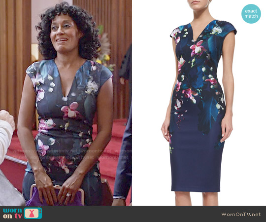 Ted Baker 'Antonya' Floral Sheath Dress worn by Tracee Ellis Ross on Blackish