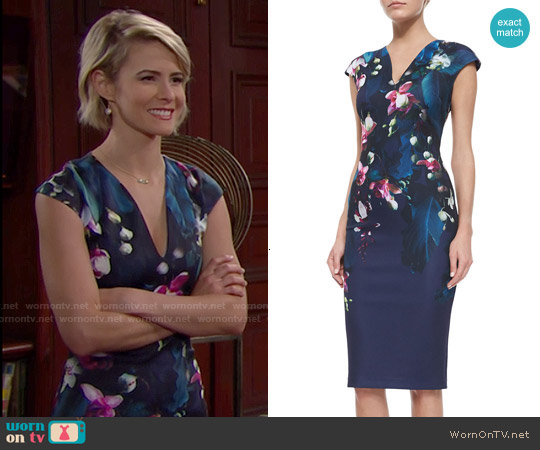 Ted Baker 'Antonya' Floral Sheath Dress worn by Linsey Godfrey on The Bold & the Beautiful
