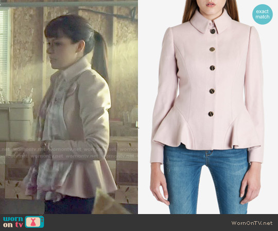 Ted Baker Bracti Wool Peplum Coat in Pale Pink worn by Alison Hendrix on Orphan Black