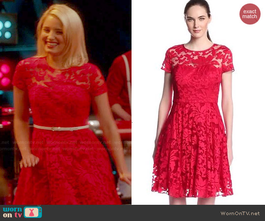 Ted Baker Caree Lace Dress in Red worn by Dianna Agron on Glee