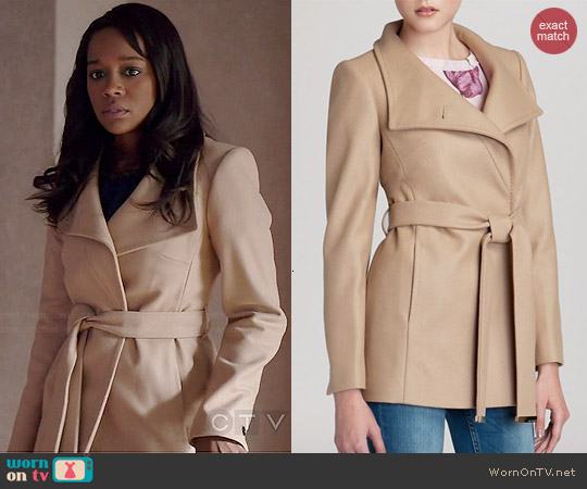 Ted Baker Chessy Wrap Coat worn by Aja Naomi King on HTGAWM