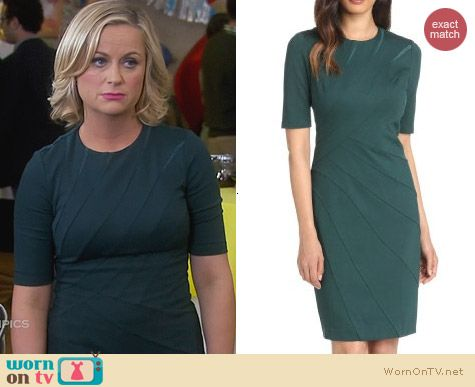 Ted Baker Corie Dress in Dark Green worn by Amy Poehler on Parks & Rec