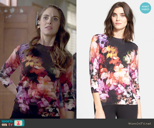 Ted Baker 'Dumia' Floral Sweater worn by Alison Brie on Community