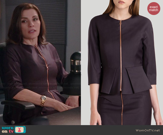Ted Baker Eben Suit Jacket in Grape worn by Julianna Margulies on The Good Wife