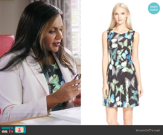Ted Baker Engrid Butterfly Print Dress worn by Mindy Kaling on The Mindy Project