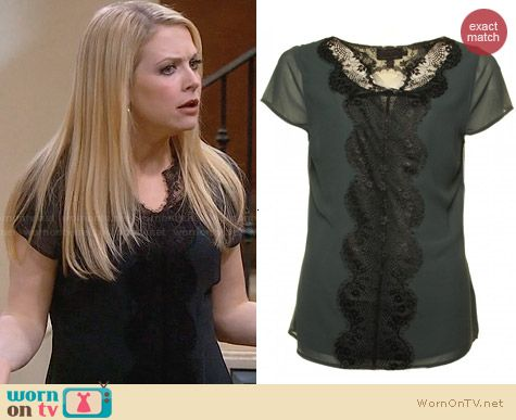 Ted Baker Ennya Lace Blouse worn by Melissa Joan Hart on Melissa & Joey